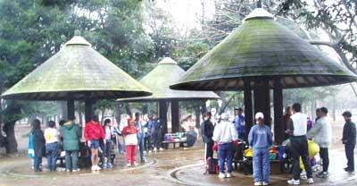 代々木公園の東屋で練習会前のウォーミングアップ